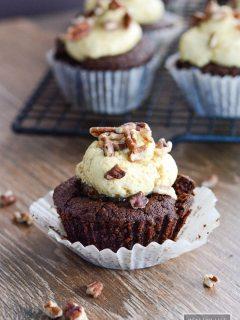 Gluten Free Chocolate Bourbon Pecan Cupcakes