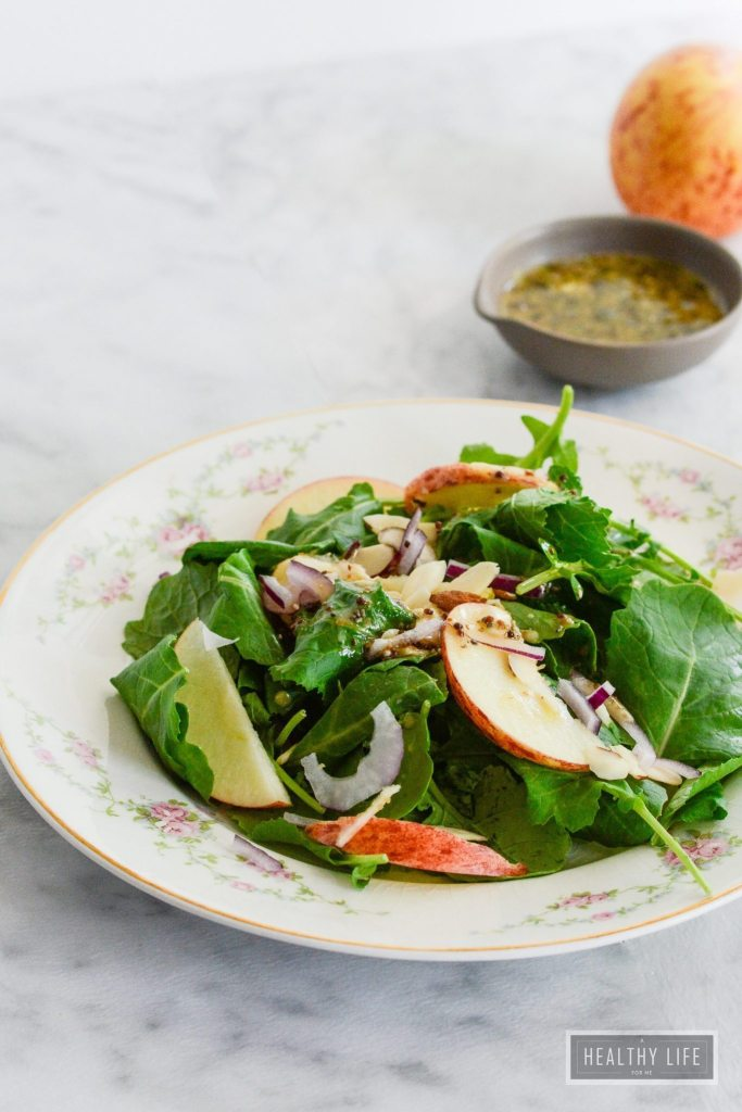 Kale Apple Salad is a tangy and sweet salad that has a great balance of flavors | ahealthylifeforme.com