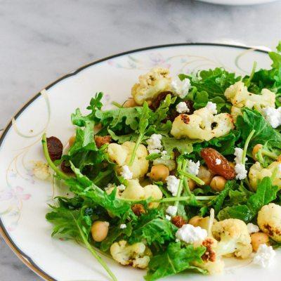 Kale and Roasted Cauliflower Salad {gluten free + vegetarian}