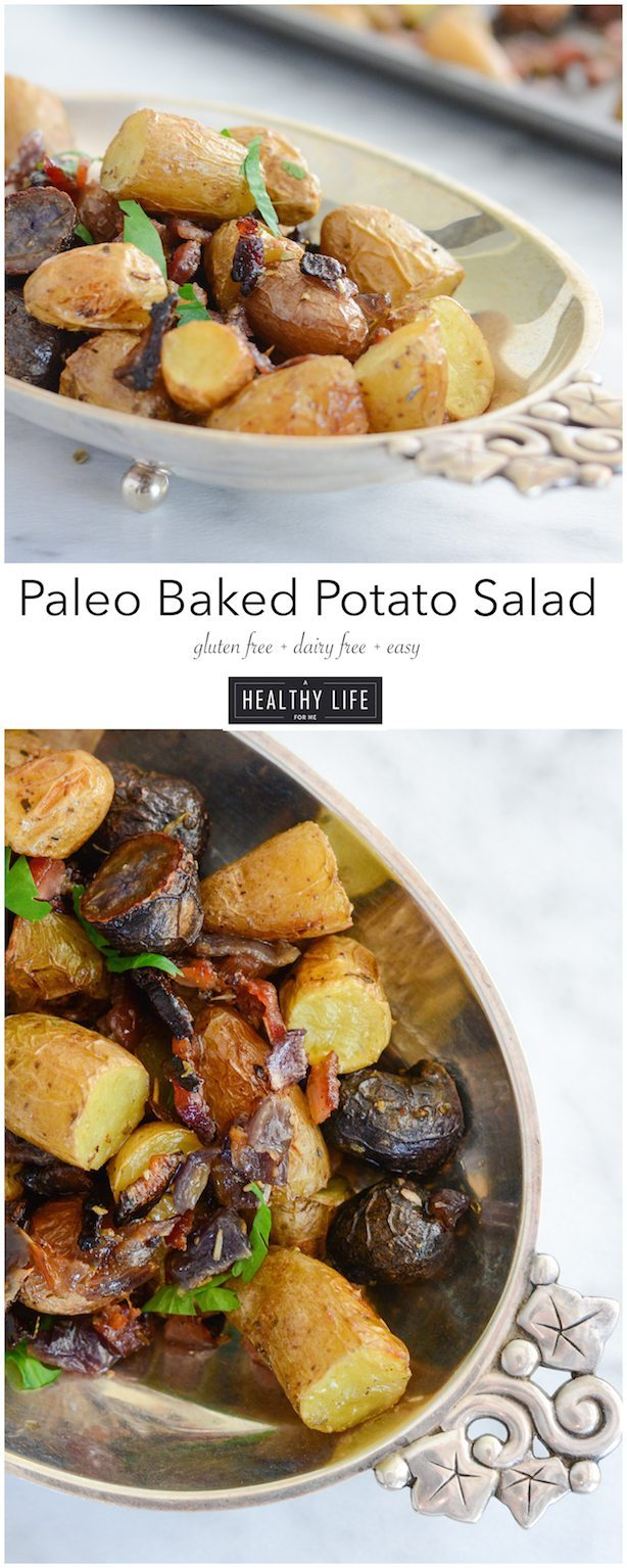 Paleo Baked Potato Salad is rich flavorful simple dish that is loaded with roasted vegetables, spice and bacon recipe | ahealthylifeforme.com