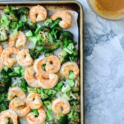 Broiled Shrimp and Broccoli with Cashew Sauce {gluten free}