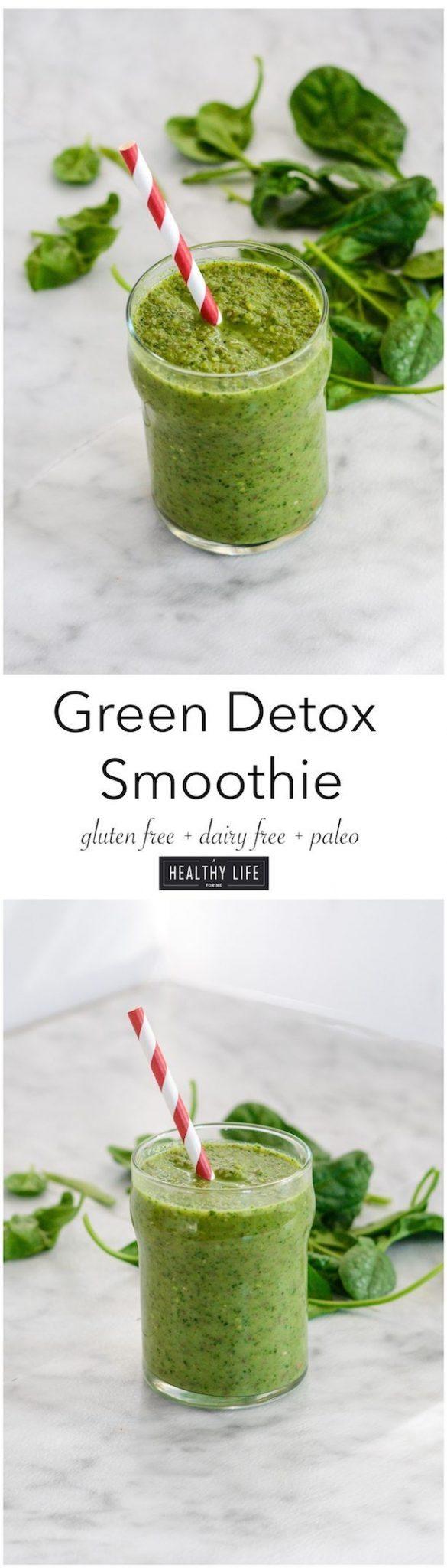 Green Detox Smoothie Recipe Gluten Free Dairy Free Paleo Friendly | ahealthylifeforme.com