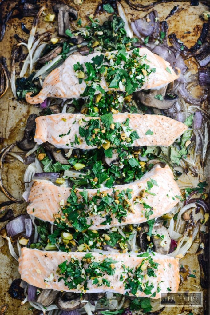Roasted Salmon Fennel Bok Choy is a healhty gluten free dairy free paleo recipe that is ready in under 30 minutes | ahealthylifeforme.com