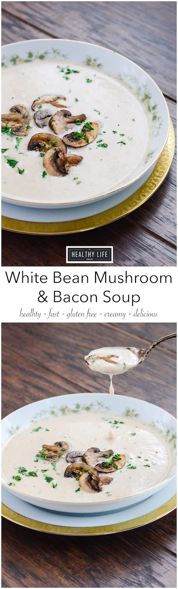 White Bean Mushroom Bacon Soup is creamy, spicy, rustic soup that is healthy, gluten free and loaded with fiber and protein | ahealthylifeforme.com