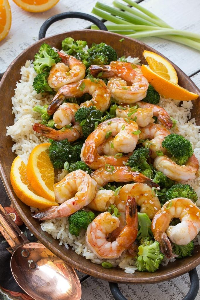 Orange Shrimp and Broccoli with Garlic Fried Rice Recipe   Dinner at the Zoo