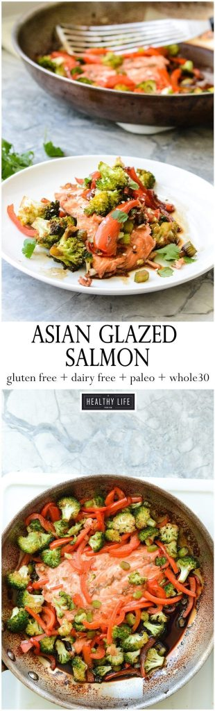 Super easy Asian Glazed Salmon is not just delicious, healthy but is ready in 25 minutes. Crunchy fresh vegetables and omega rich Salmon coated in a salty sweet asian sauce makes the perfect weeknight dinner. This recipe is gluten-free, dairy free, paleo and whole 30 friendly and loaded with superfoods | ahealthylifeforme.com