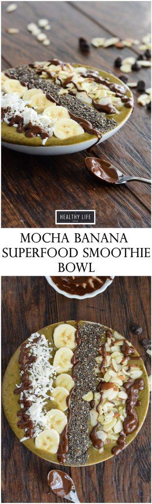 Mocha Banana Superfood Smoothie Bowl Dairy Free Vegan Recipe | ahealthylifeforme.com