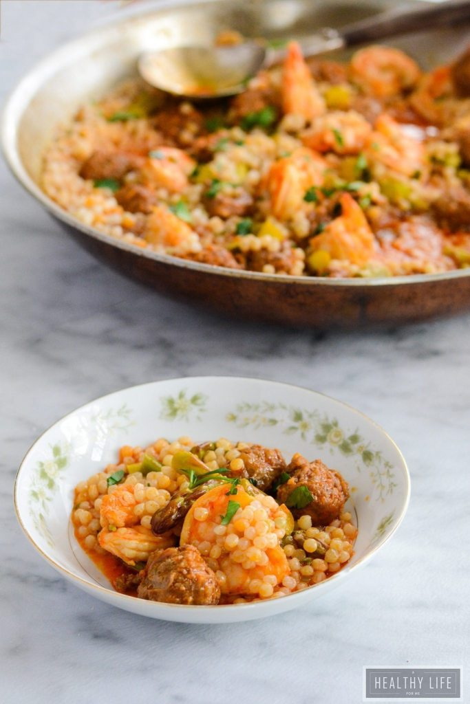 Spicy Shrimp Chorizo Stew is the perfect easy recipe with a bit of kick to liven up your weeknight dinner. Layers of shrimp, chorizo, spice, citrus and couscous come together for a healthy gluten free dish.   ahealthylifeforme.com