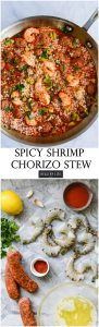 Spicy Shrimp Chorizo Stew is the perfect easy recipe with a bit of kick to liven up your weeknight dinner. Layers of shrimp, chorizo, spice, citrus and couscous come together for a healthy gluten free dish. | ahealthylifeforme.com