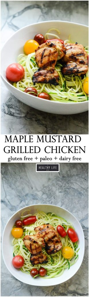 Gluten Free Paleo Maple Mustard Grilled Chicken Recipe is High protein Low Calorie | ahealthylifeforme.com
