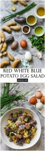 Red White Blue Potato Egg Salad is a creamy, tangy salad that can be made ahead of time. The perfect side to any cookout and perfect for enjoying while you celebrate the 4th of July | ahealthylifeforme.com