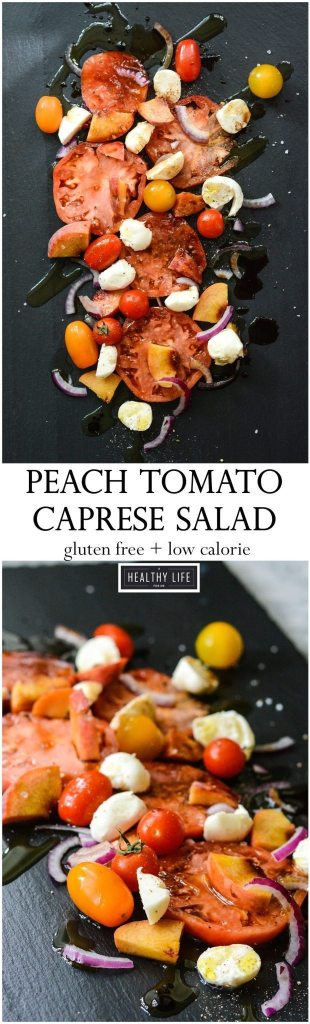 Peach Tomato Caprese Salad perfect summer recipe | ahealthylifeforme.com