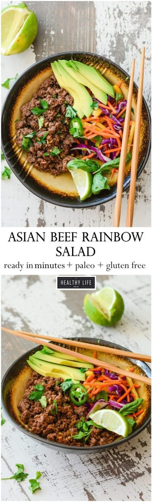 This Asian Beef Rainbow Salad is ready to eat in minutes, is loaded with tons of raw good for you vegetables, and perfectly seasoned and cooked ground beef   ahealthylifeforme.com