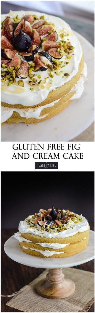 Gluten Free Fig and Cream Cake Coconut cream is layered between three perfectly light and moist egg white cakes. Then topped with fresh seasonal figs, crumbled pistachio and a drizzle of golden honey. | ahealthylifeforme.com