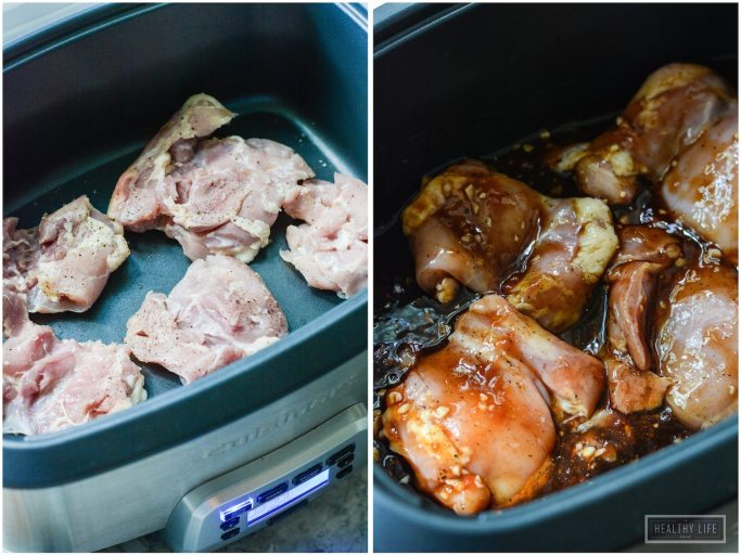 This Paleo Maple Garlic Chicken with Brussels Sprouts cooked up in a slow cooker is an easy, delicious, quick dinner idea   ahealthylifeforme.com