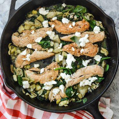 Skillet Chicken Artichoke Spinach {gluten free}