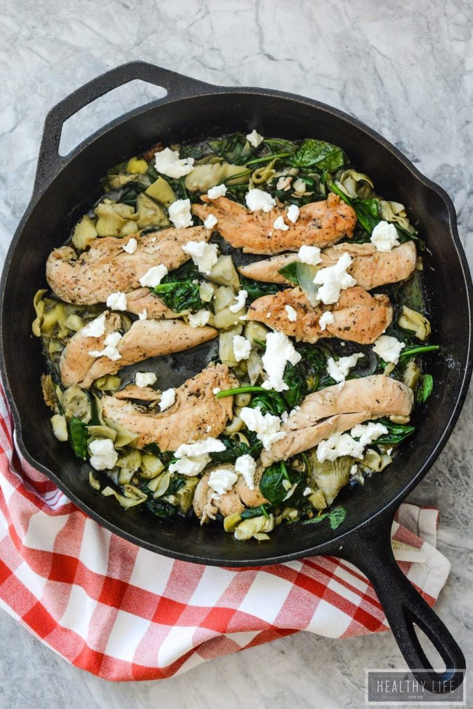 Skillet Chicken Artichoke Spinach recipe is made with simple, clean ingredients in one pan and is ready in under 30 minutes | ahealthylifeform.com