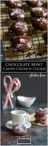 These Gluten Free Chocolate Mint Candy Crunch Cookies are perfect for the holidays, or really anytime. Imagine homemade girl scout thin mints with a candy cane crunch topping | ahealthylifeforme.com