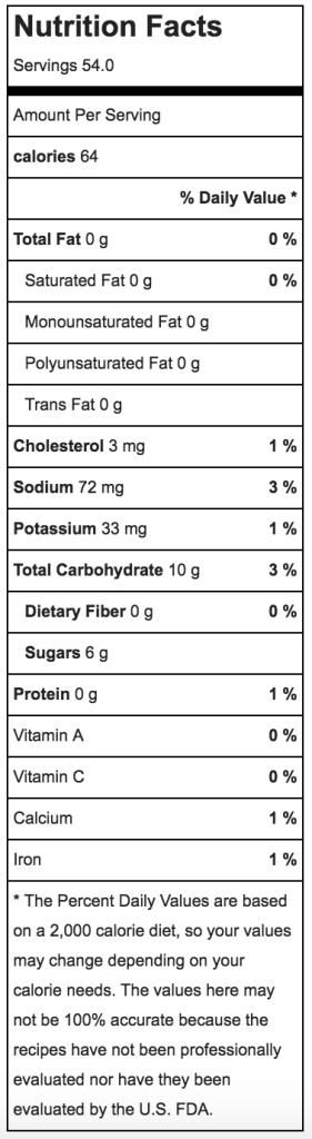 Gluten Free Gingersnaps Nutritional Information