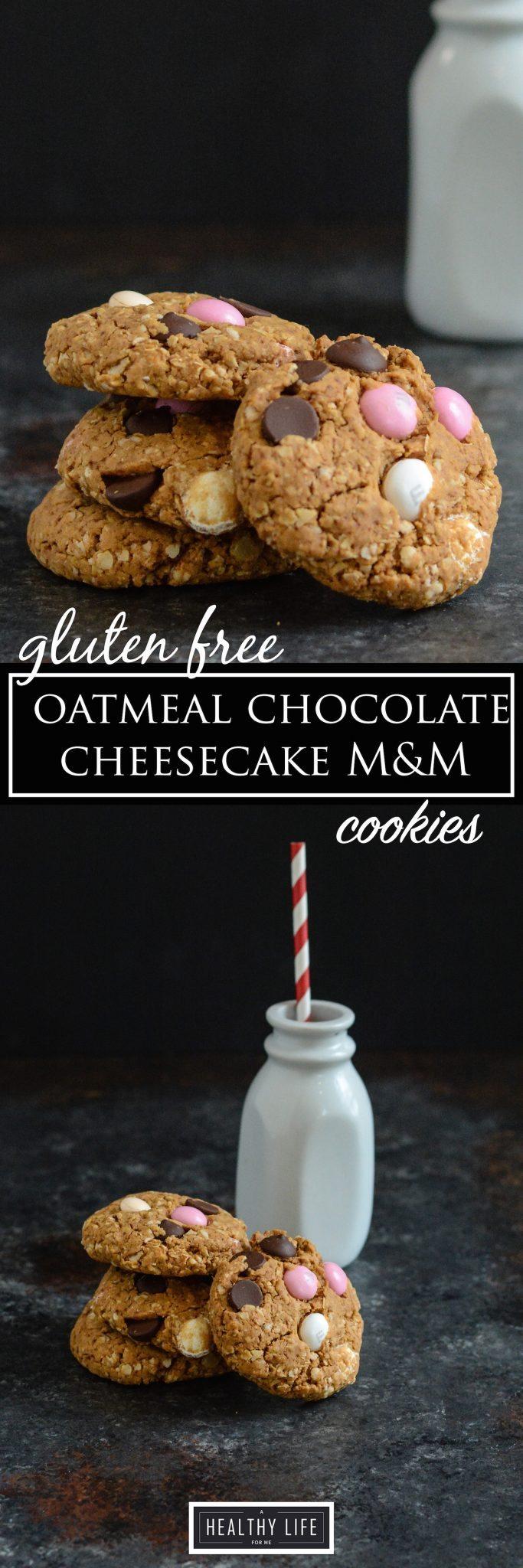 Oatmeal Chocolate Cheesecake M&M Cookie Recipe | ahalthylifeforme.com