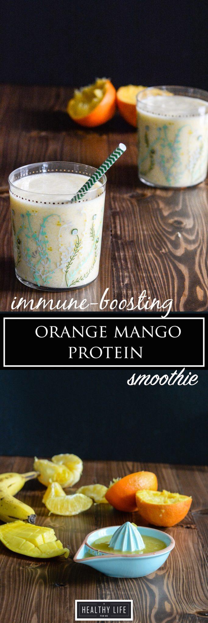 Orange Mango Protein Smoothie Recipe   ahealthylifeforme.com