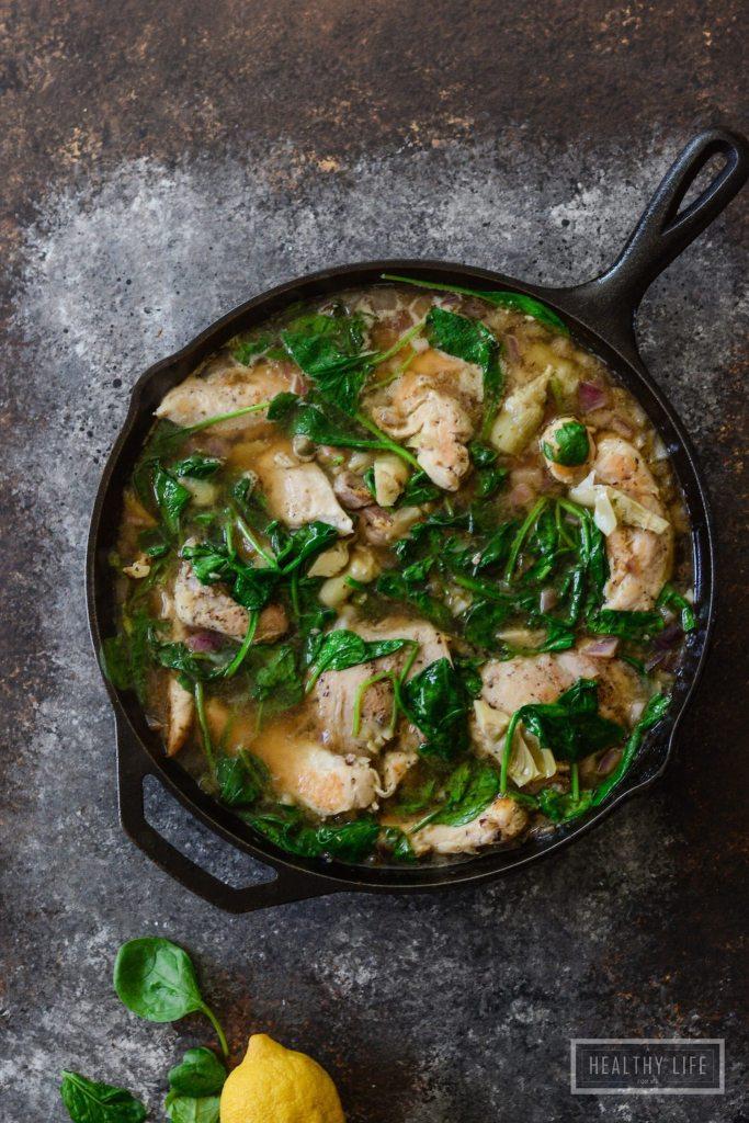 Paleo Chicken Lemon Spinach Artichoke Stew