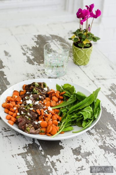 Chimichurri Steak with Burnt Carrots and Goat Cheese