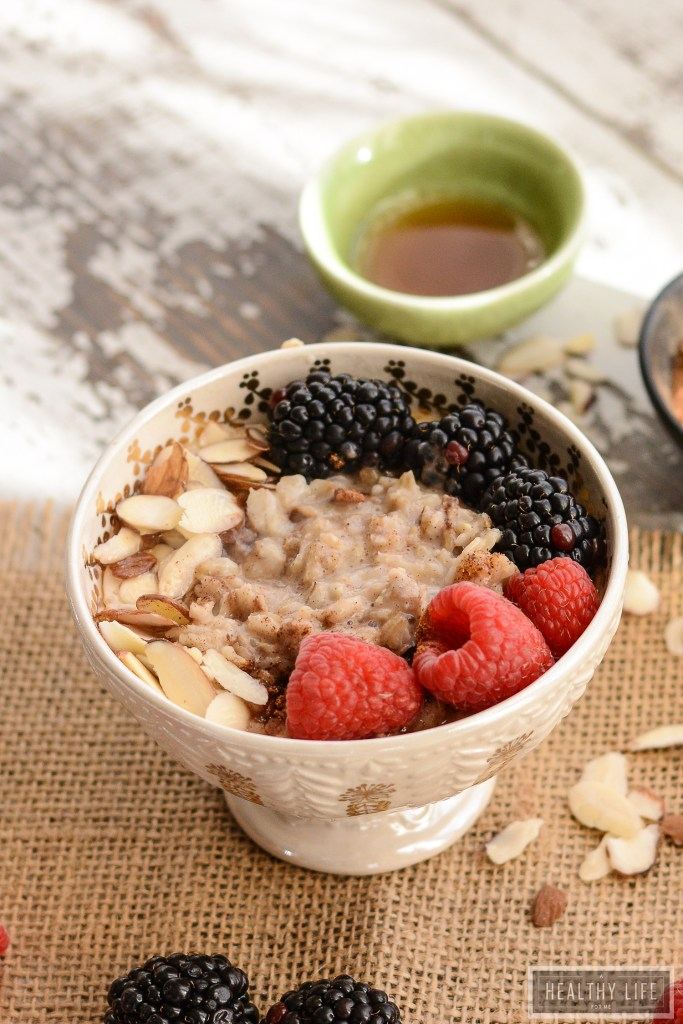 Warm Chai Oatmeal Almond Bowl with So Delicious Almond Milk