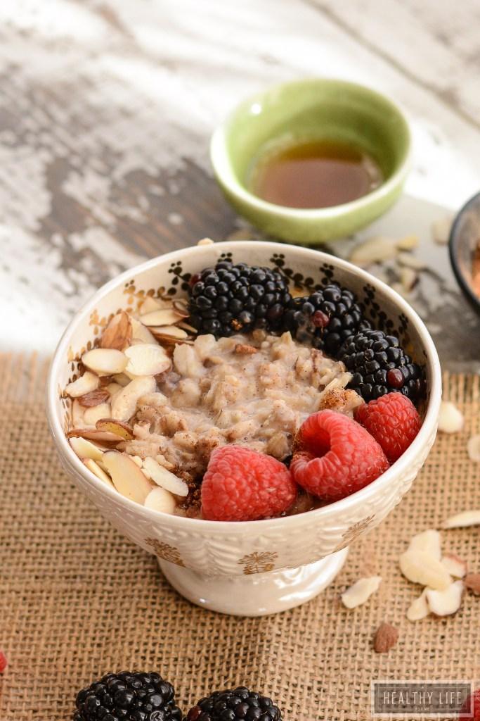 Warm Chai Oatmeal Almond Bowl with So Delicious Almond Milk