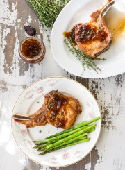 Perfect Valentine's Dinner for Two Pan Seared Roasted Pork Chops with Fig Sauce