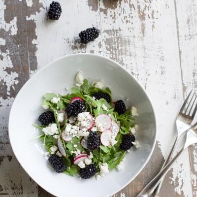 Arugula Blackberry Radish Feta Salad