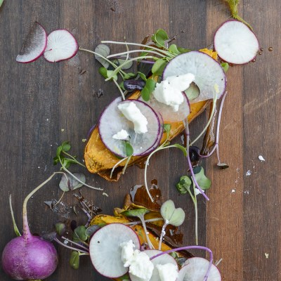 Radish Goat Cheese Sweet Potato Toast with Microgreens