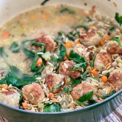 Easy Italian Wedding Soup with Chicken Meatballs
