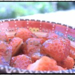 Summer strawberries with olive oil, basil & honey glaze