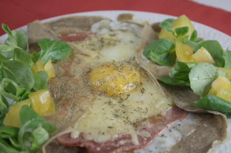 Ham, cheese and egg galette