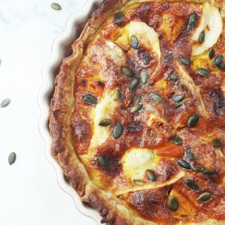 Pumpkin goat cheese quiche
