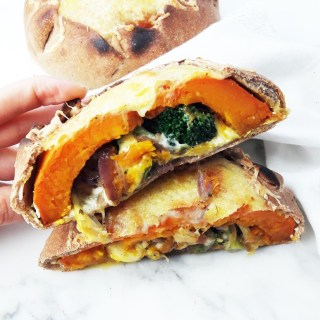 Pumpkin calzone with broccoli, mozzarella and ricotta