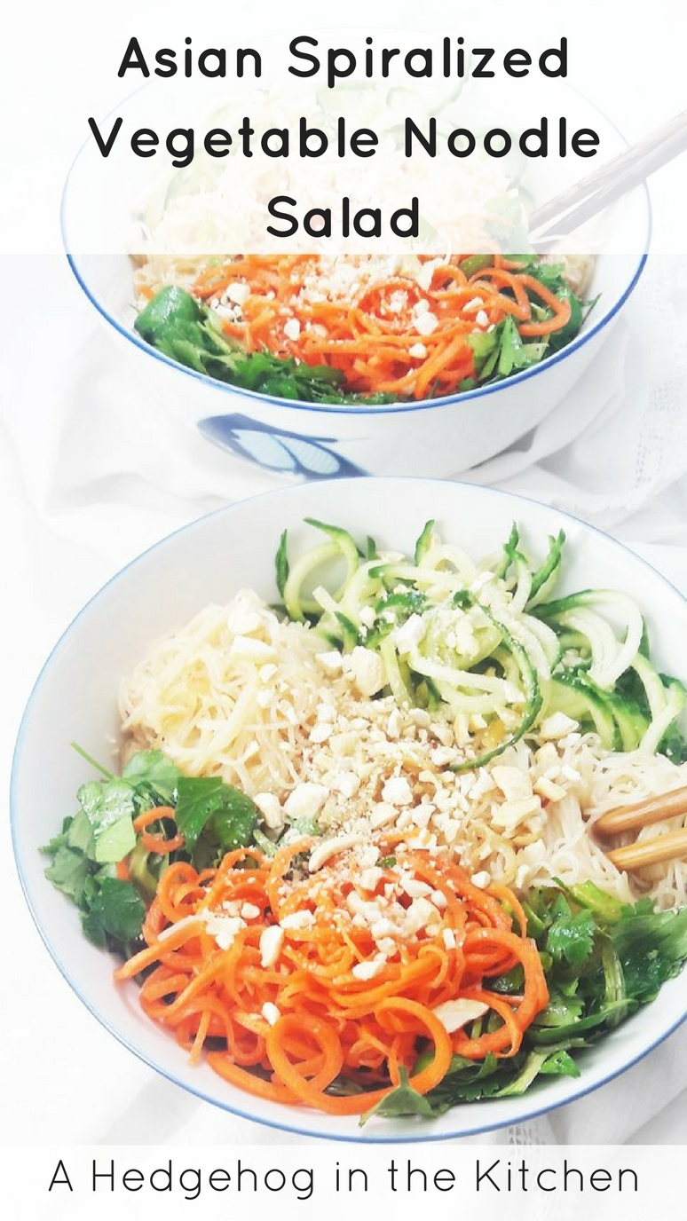 Asian spiralized vegetable noodle salad. The perfect healthy lunch or dinner! | ahedgehoginthekitchen.com