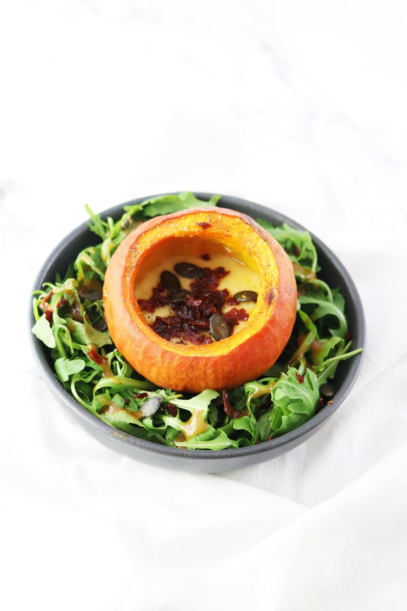 Mini pumpkin filled with cheddar and speck. | ahedgehoginthekitchen.com