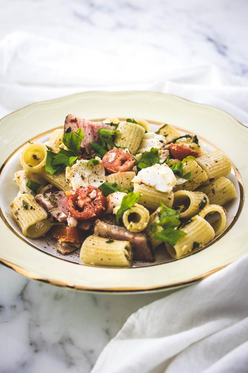 Tasty fish pasta with cod, tuna pastrami and tomatoes   ahedgehoginthekitchen.com