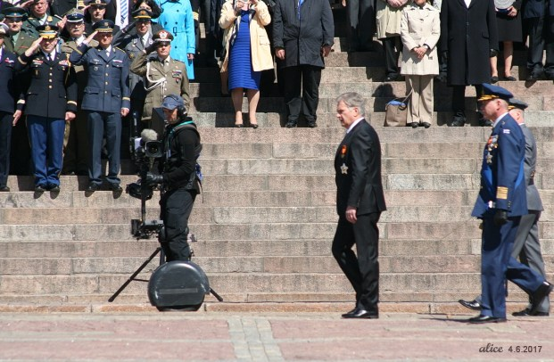 The National Parade on The Flag Day of the Finnish Defence Forces in Helsinki, Senate square 2017 President Sauli Niinistö