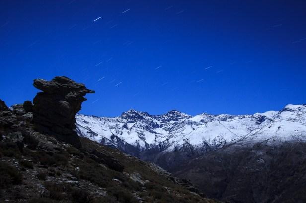 Cara norte del Mulhacén y la Alcazaba, Sierra Nevada, noche de invierno, 2015