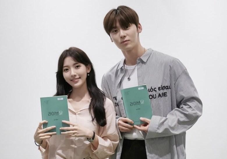 NU'EST's Hwang Min Hyun, Jung Da Bin for JTBC's Live On drama script reading.
