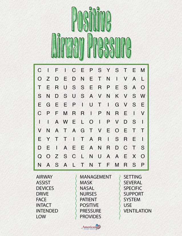 Positive Airway Pressure - Word Search Puzzle