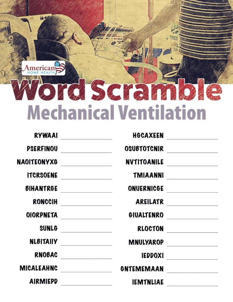 Word Scramble - Mechanical Ventilation
