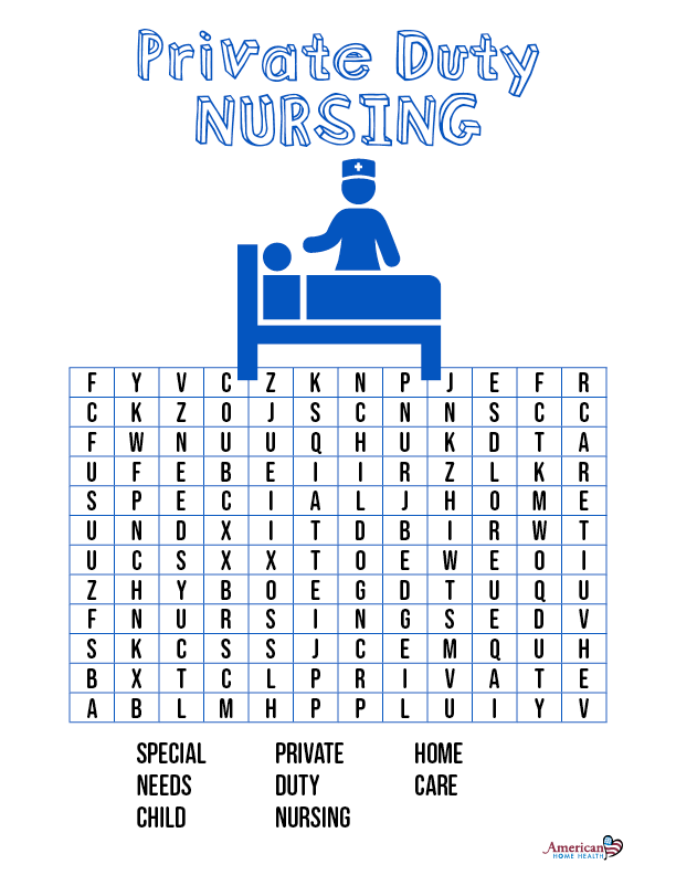 Private Duty Nursing - Word Search Puzzle for Kids
