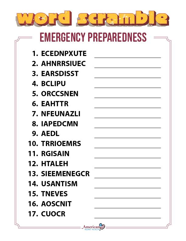 Emergency Preparedness - Word Scramble