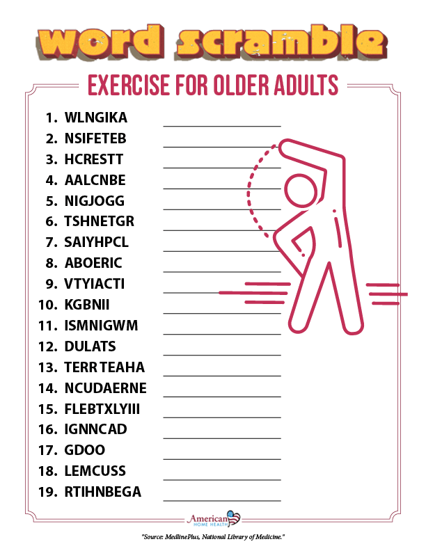 Exercise for Older Adults - Word Scramble