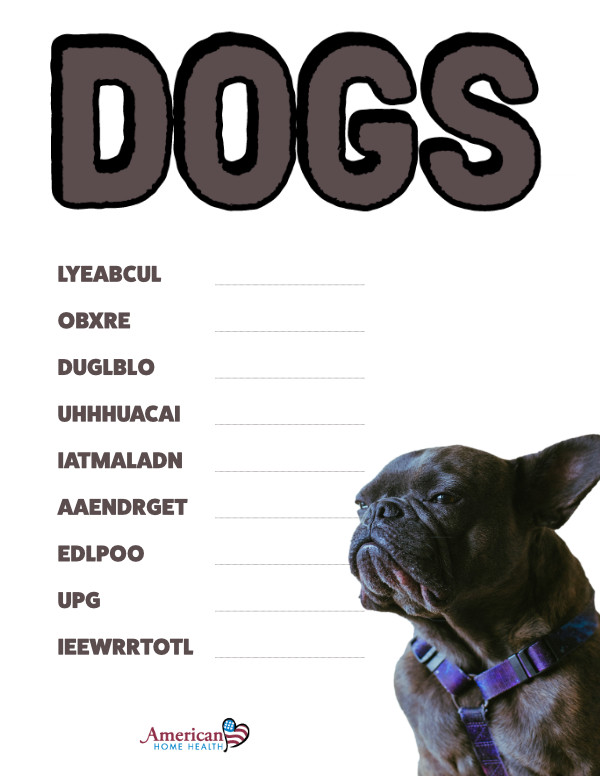 Dogs - Word Scramble Puzzle for Kids