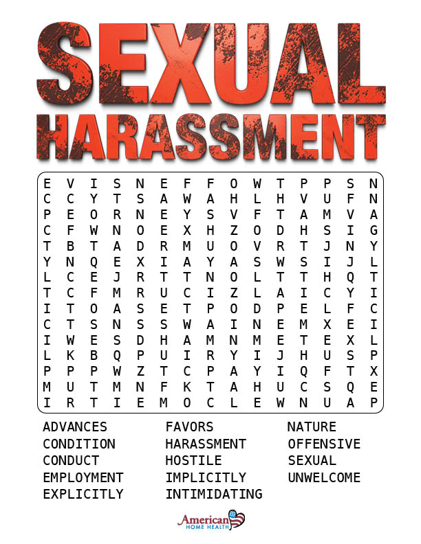 Sexual Harassment - Word Search Puzzle